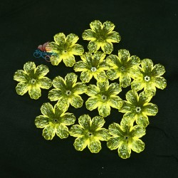 #398 Acrylic Transparent Flower Bead 3cm - Yellow (20gram/pack)