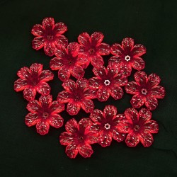#398 Acrylic Transparent Flower Bead 3cm - Red (20gram/pack)