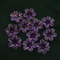 #398 Acrylic Transparent Flower Bead 3cm - Purple (20gram/pack)
