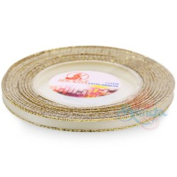 6mm Senorita Gold Edge Satin Ribbon - Beige 011G
