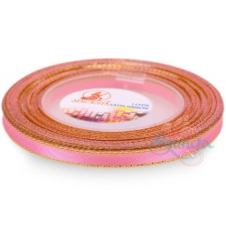 6mm Senorita Gold Edge Satin Ribbon - Pink 013G