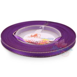6mm Senorita Gold Edge Satin Ribbon - Purple 014G
