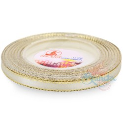 6mm Senorita Gold Edge Satin Ribbon - Ivory 01G