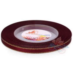 6mm Senorita Gold Edge Satin Ribbon - Maroon 028G