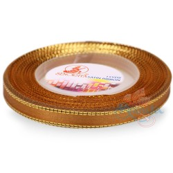 6mm Senorita Gold Edge Satin Ribbon - Dark Goldenrod 03G