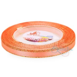 6mm Senorita Gold Edge Satin Ribbon - Coral 08G