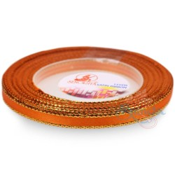 6mm Senorita Gold Edge Satin Ribbon - Dark Orange 116G