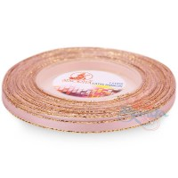 6mm Senorita Gold Edge Satin Ribbon - Light Pink 12G