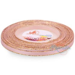 6mm Senorita Gold Edge Satin Ribbon - Light Pink 12G