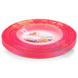 6mm Senorita Gold Edge Satin Ribbon - Deep Pink 13G
