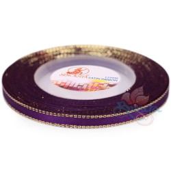 6mm Senorita Gold Edge Satin Ribbon - Dark Purple 14G