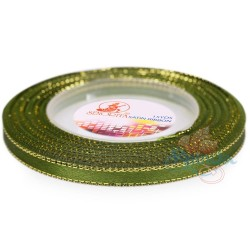 6mm Senorita Gold Edge Satin Ribbon - Olive Green 208G