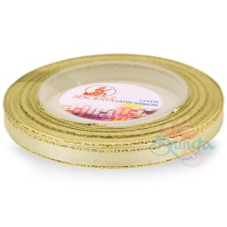 6mm Senorita Gold Edge Satin Ribbon - Pearl 224G