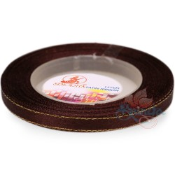 6mm Senorita Gold Edge Satin Ribbon - Chestnut Brown 225G