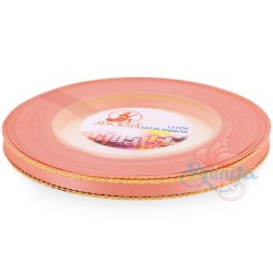 6mm Senorita Gold Edge Satin Ribbon - Light Peach 228G