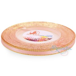 6mm Senorita Gold Edge Satin Ribbon - Light Salmon 229G