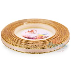 6mm Senorita Gold Edge Satin Ribbon - Peanut 230G