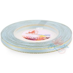 6mm Senorita Gold Edge Satin Ribbon - Baby Blue 231G