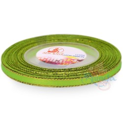 6mm Senorita Gold Edge Satin Ribbon - Neon Green 236G
