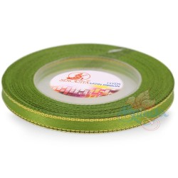 6mm Senorita Gold Edge Satin Ribbon - Kelly Green 227AG