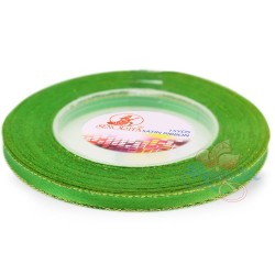 6mm Senorita Gold Edge Satin Ribbon - Green 240G