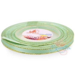 6mm Senorita Gold Edge Satin Ribbon - Mint Green 242G