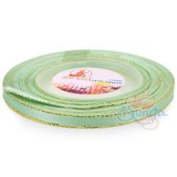 6mm Senorita Gold Edge Satin Ribbon - Mint Green 242G
