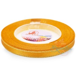 6mm Senorita Gold Edge Satin Ribbon - Moon Yellow 245G