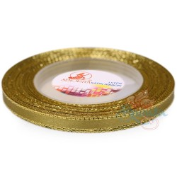 6mm Senorita Gold Edge Satin Ribbon - Khaki 246G