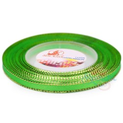 6mm Senorita Gold Edge Satin Ribbon - Bright Green 251G