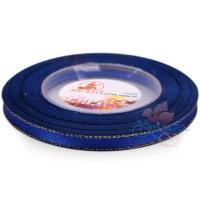 6mm Senorita Gold Edge Satin Ribbon - Electric Blue 25G