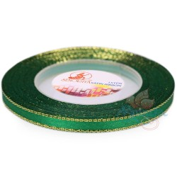 6mm Senorita Gold Edge Satin Ribbon - Forest 26G