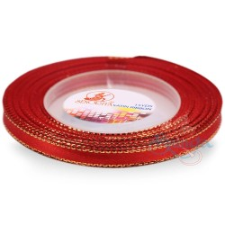 6mm Senorita Gold Edge Satin Ribbon - Red 28G