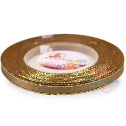 6mm Senorita Gold Edge Satin Ribbon - Espresso 5140G