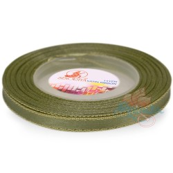 6mm Senorita Gold Edge Satin Ribbon - Dark Khaki 5163G