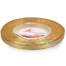 6mm Senorita Gold Edge Satin Ribbon - Light Tortilla 52G
