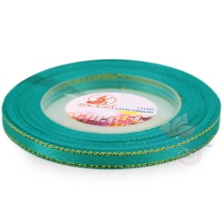 6mm Senorita Gold Edge Satin Ribbon - Tiffany Blue 548G