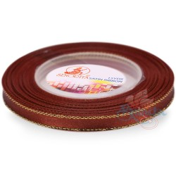 6mm Senorita Gold Edge Satin Ribbon - Cinnamon 568G