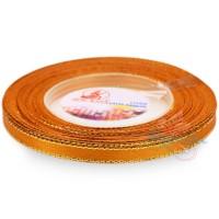 6mm Senorita Gold Edge Satin Ribbon - Orange 6G