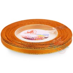 6mm Senorita Gold Edge Satin Ribbon - Orange 6G