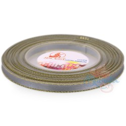 6mm Senorita Gold Edge Satin Ribbon - Light Grey 77G