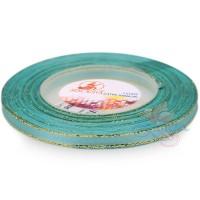 6mm Senorita Gold Edge Satin Ribbon - Light Turquoise 802