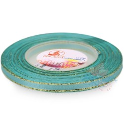 6mm Senorita Gold Edge Satin Ribbon - Light Turquoise 802