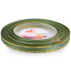 6mm Senorita Gold Edge Satin Ribbon - Sea Green 803G