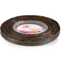 6mm Senorita Gold Edge Satin Ribbon - Metal Grey 805G