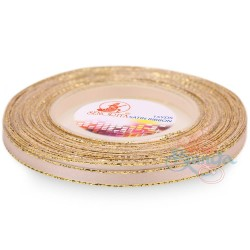 6mm Senorita Gold Edge Satin Ribbon - Pink Beige 806G