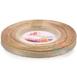 6mm Senorita Gold Edge Satin Ribbon - Desert Tan 807G