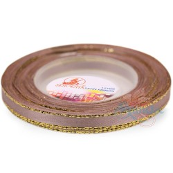 6mm Senorita Gold Edge Satin Ribbon - Pinky Brown 808G