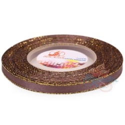 6mm Senorita Gold Edge Satin Ribbon - Deep Taupe 810G