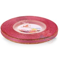 6mm Senorita Gold Edge Satin Ribbon - Classic Rose 811G
